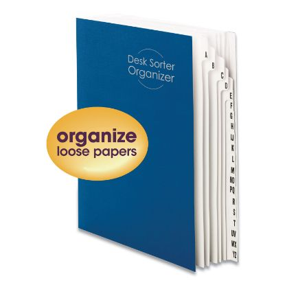 Picture of Deluxe Expandable Indexed Desk File/Sorter, Reinforced Tabs, 20 Dividers, Alpha, Letter-Size, Dark Blue Cover