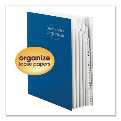 Picture of Deluxe Expandable Indexed Desk File/Sorter, 31 Dividers, Dates, Letter-Size, Dark Blue Cover