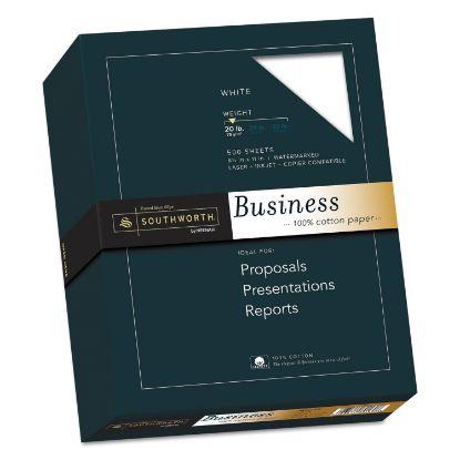 Picture of 100% Cotton Business Paper, 95 Bright, 20 lb, 8.5 x 11, White, 500/Ream