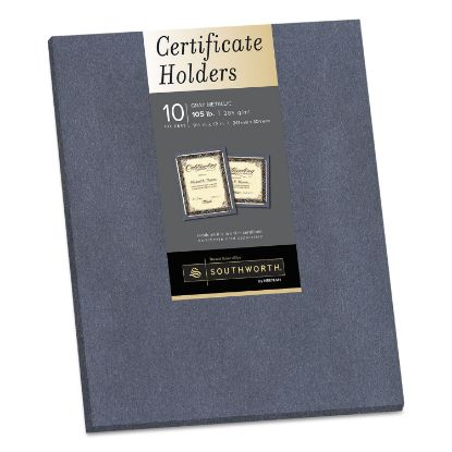 Picture of Certificate Holder, Gray, 105lb Linen Stock, 12 x 9 1/2, 10/Pack