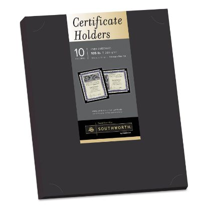 Picture of Certificate Holder, Black, 105lb Linen Stock, 12 x 9 1/2, 10/Pack