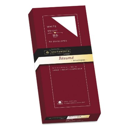 Picture of 100% Cotton Resume Envelope, #10, Commercial Flap, Gummed Closure, 4.13 x 9.5, White, 50/Box