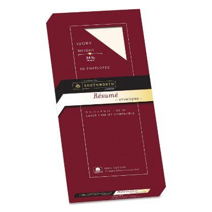 Picture of 100% Cotton Resume Envelope, #10, Commercial Flap, Gummed Closure, 4.13 x 9.5, Ivory, 50/Box