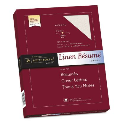 Picture of 100% Cotton Premium Weight Linen Resume Paper, 32 lb, 8.5 x 11, Almond, 100/Pack