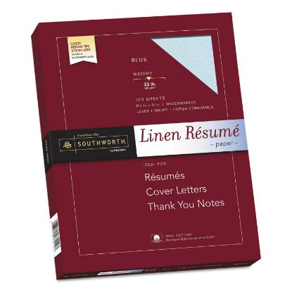 Picture of 100% Cotton Premium Weight Linen Resume Paper, 32 lb, 8.5 x 11, Blue, 100/Pack