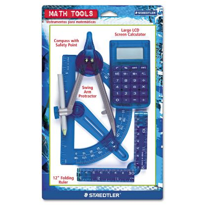 Picture of Four-Piece Math Tools Set, Plastic, Assorted Colors