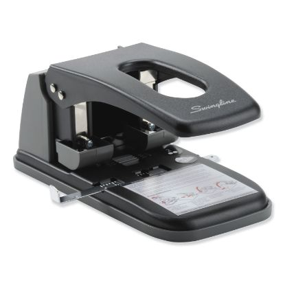 """Picture of 100-Sheet High Capacity 2-Hole Punch, Fixed Centers, 9/32"""" Holes, Black/Gray"""