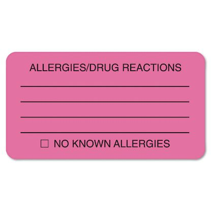 Picture of Allergy Warning Labels, ALLERGIES/DRUG REACTIONS NO KNOWN ALLERGIES, 1.75 x 3.25, Pink, 250/Roll