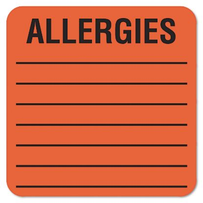Picture of Allergy Warning Labels, ALLERGIES, 2 x 2, Fluorescent Red, 500/Roll