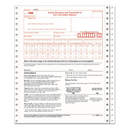 Picture of 1096 Summary Transmittal Tax Forms, 2-Part Carbonless, 8 x 11, 10 Forms