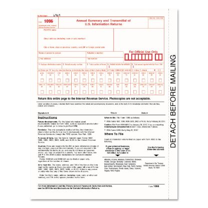 Picture of 1096 Summary Transmittal Tax Forms, 8 x 11, Inkjet/Laser, 50 Forms