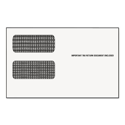 Picture of 1099 Double Window Envelope, Commercial Flap, Gummed Closure, 5.63 x 9, White, 24/Pack