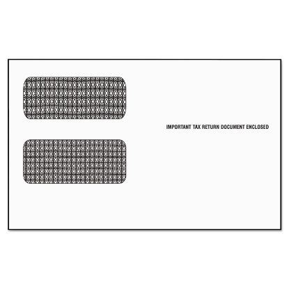 Picture of 1099 Double Window Envelope, Commercial Flap, Self-Adhesive Closure, 5.63 x 9.5, White, 24/Pack