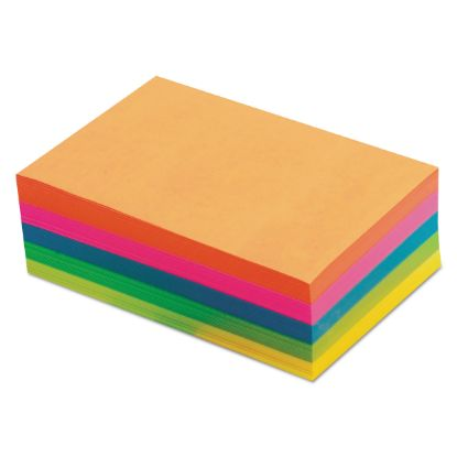 Picture of Fluorescent Color Memo Sheets, 4 x 6, Unruled, Assorted Colors, 500/Pack