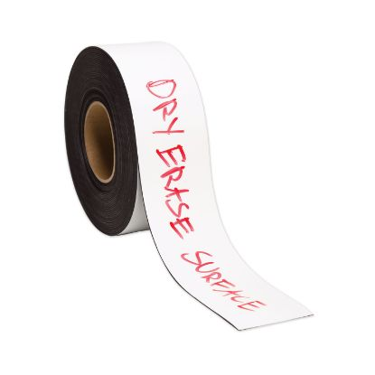 """Picture of Dry Erase Magnetic Tape Roll, 3"""" x 50 ft, White, 1/Roll"""