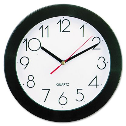 """Picture of Bold Round Wall Clock, 9.75"""" Overall Diameter, Black Case, 1 AA (sold separately)"""