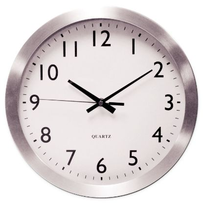 """Picture of Brushed Aluminum Wall Clock, 12"""" Overall Diameter, Silver Case, 1 AA (sold separately)"""