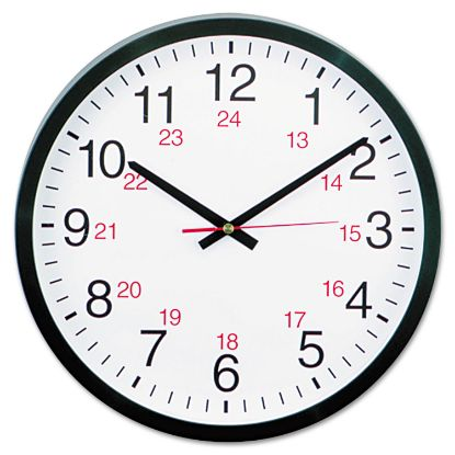 """Picture of 24-Hour Round Wall Clock, 12.63"""" Overall Diameter, Black Case, 1 AA (sold separately)"""