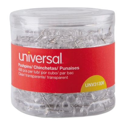 """Picture of Clear Push Pins, Plastic, 3/8"""", 400/Pack"""