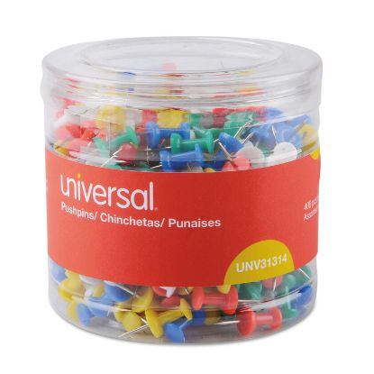 """Picture of Colored Push Pins, Plastic, Assorted, 3/8"""", 400/Pack"""