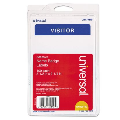 """Picture of """"Visitor"""" Self-Adhesive Name Badges, 3 1/2 x 2 1/4, White/Blue, 100/Pack"""