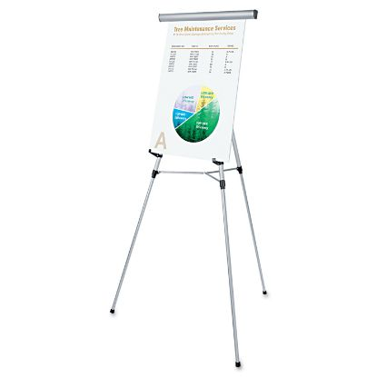 """Picture of 3-Leg Telescoping Easel with Pad Retainer, Adjusts 34"""" to 64"""", Aluminum, Silver"""