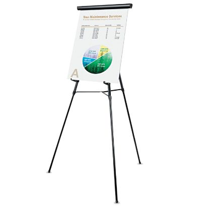 """Picture of 3-Leg Telescoping Easel with Pad Retainer, Adjusts 34"""" to 64"""", Aluminum, Black"""