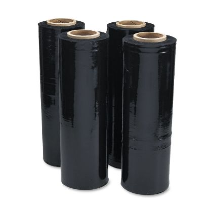 """Picture of Black Stretch Film, 18"""" x 1, 500ft Roll, 20mic (80-Gauge), 4/Carton"""