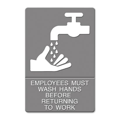 Picture of ADA Sign, EMPLOYEES MUST WASH HANDS... Tactile Symbol/Braille, 6 x 9, Gray