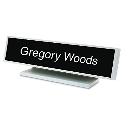 Picture of Architectural Desk Sign with Name Plate, Gray, Square Radius
