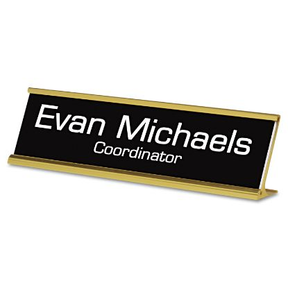 Picture of Custom Desk/Counter Sign, 2x8, Gold Frame