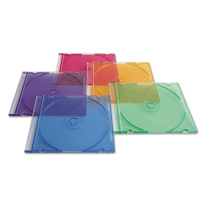 Picture of CD/DVD Slim Case, Assorted Colors, 50/Pack
